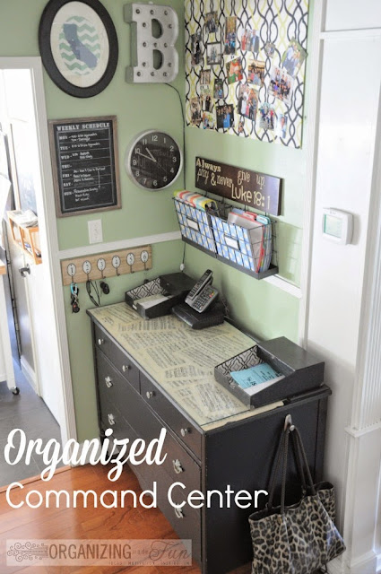 12 Ways to Organize with Command Hooks - organize a purse on a hook in a command center :: OrganizingMadeFun.com