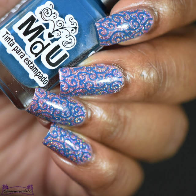 Blue Swirls Stamping Nail Art