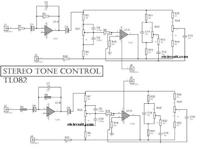 Stereo Tone Control Circuit Diagram using OPAMP TL084