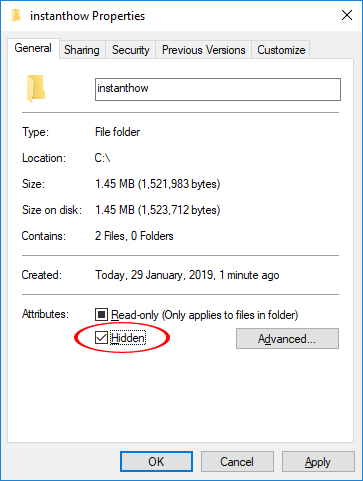 Hide Folder Windows 10