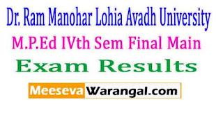 Dr. Ram Manohar Lohia Avadh University M.P.Ed IVth Sem Final Main,2016 Exam Results