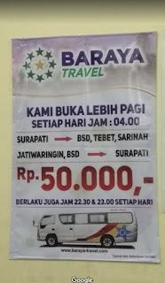 Harga tiket Baraya Travel