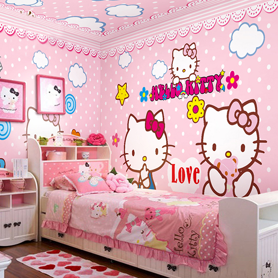 wall mural hello kitty pink wallpaper girl kid bedroom children baby wallpaper mural