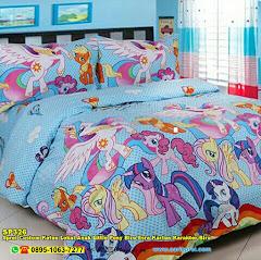 Sprei Custom Katun Lokal Anak Little Pony Biru Esra Kartun Karakter Biru