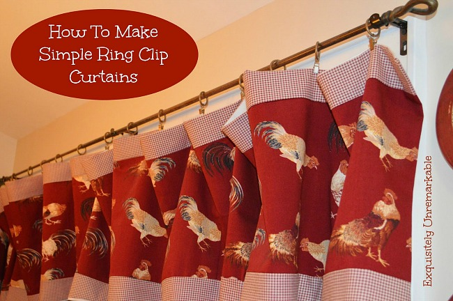 How to make simple ring clip curtains with a border fabric.