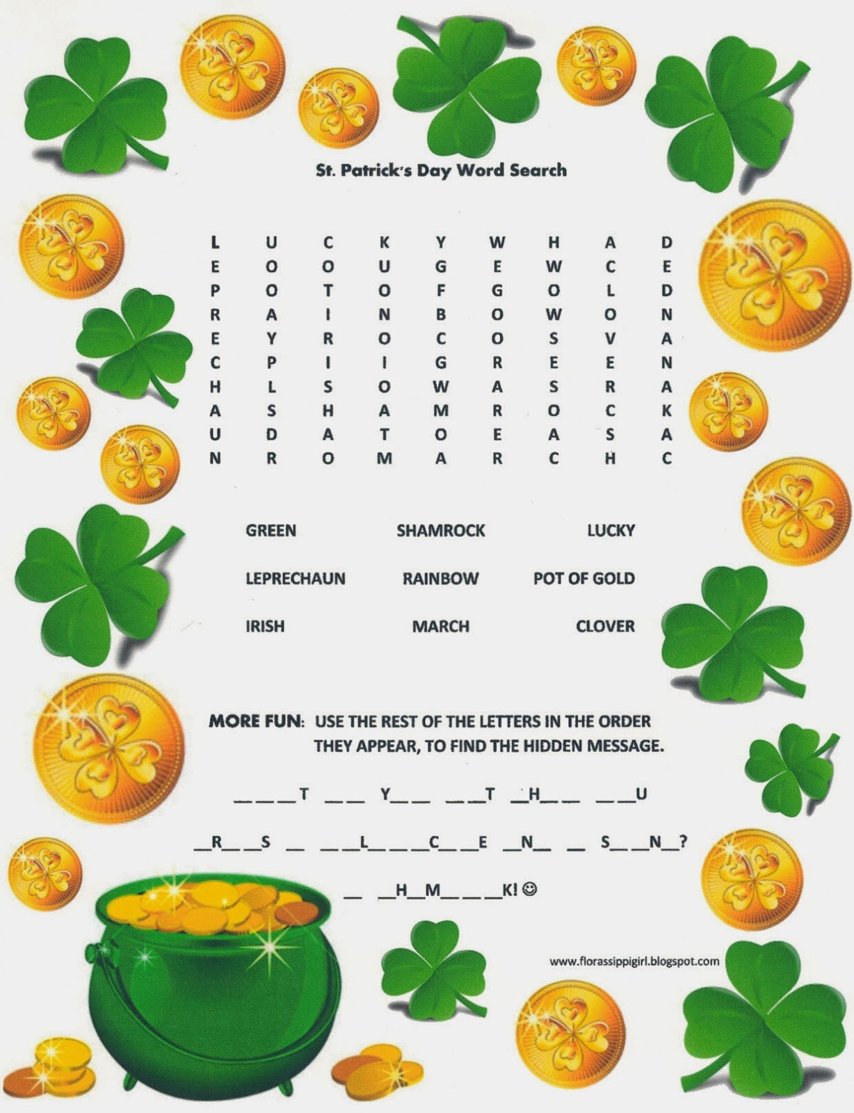 Florassippi Girl St Patrick S Day Word Search
