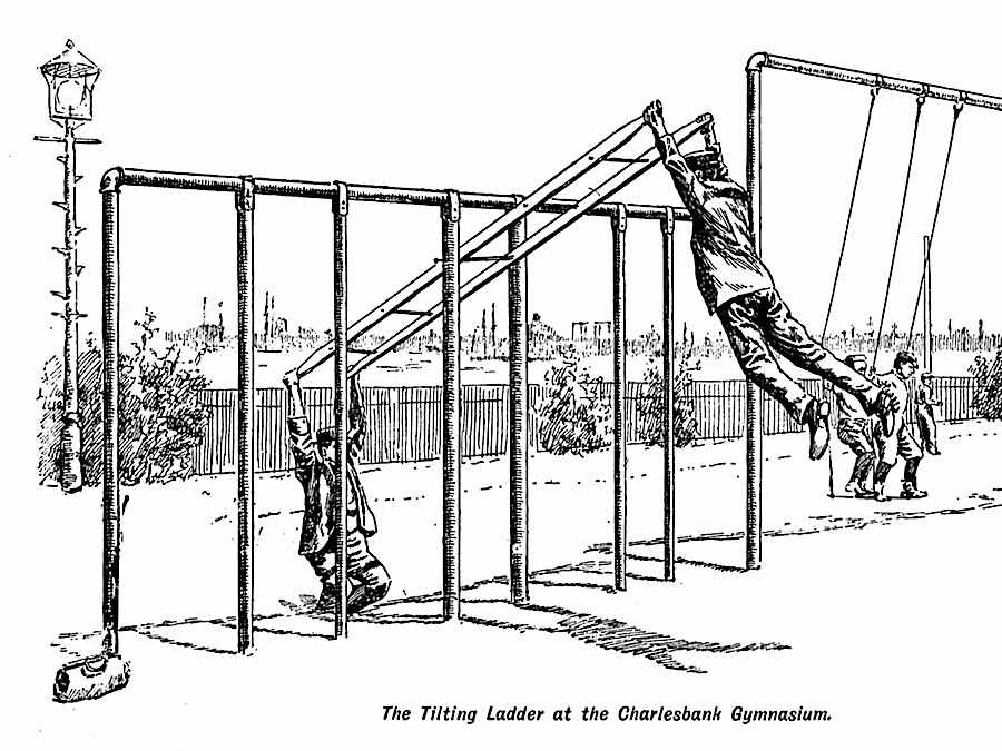 the 1895 tilting ladder at the Charlesbank Gymnasium, an illustration