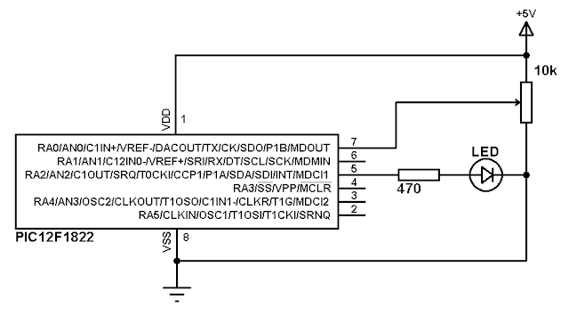 PIC12F1822 microcontroller ADC and PWM example circuit