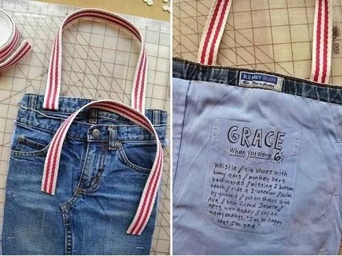 Tas unik dari celana jeans bekas