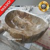 Wastafel fosil kayu asli batu alam tulungagung model natural diameter 40 cm