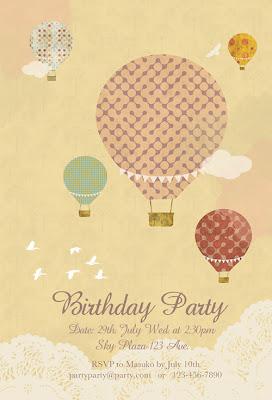TiptoesToes Hot Air Balloons Birthday Party Invitation