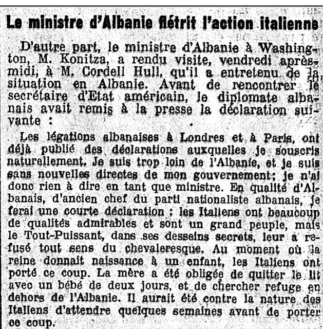 Faik Konica's Press Statement in Le Temps in 1939 from US: Italy's Aggression as a Punch in Face