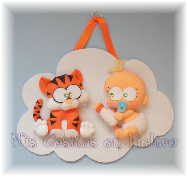 bebé, decoración, baby, animal, cloud, felt, fieltro, nube, adorno de fieltro, niños, habitación, tigre, tigger