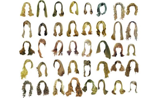Pack de cabello femenino o pelucas de mujer en PSD