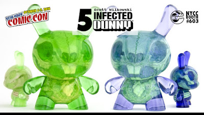 "New York Comic Con 2016 Exclusive Lavender & Sour Apple Editions Infected 5"" Dunny Resin Figures by Scott Wilkowski x Clutter x Kidrobot"
