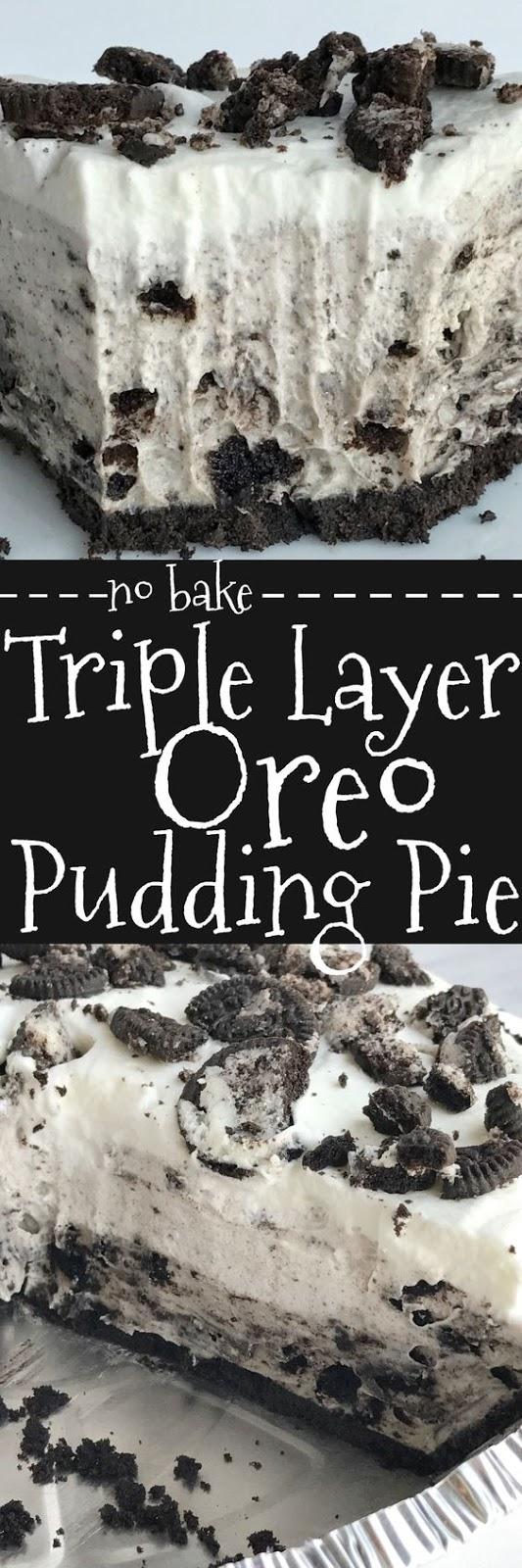 No Bake Triple Layer Oreo Pudding Pie