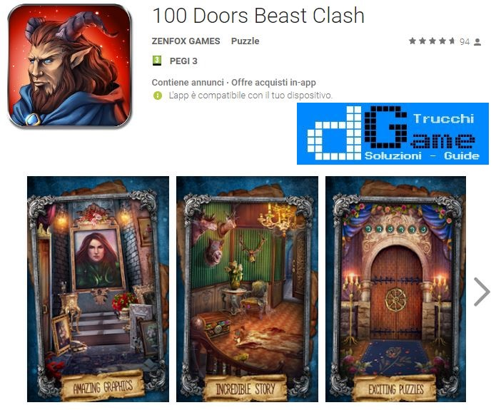 Soluzioni 100 Doors Beast Clash livello 91 92 93 94 95 96 97 98 99 100 | Trucchi e Walkthrough level