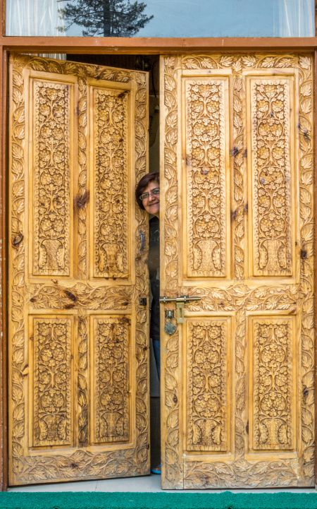 Beautifully carved door go Tourist Bungalow - Chandigam