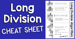 This long division reference sheet can help students with the steps of the long division algorithm. The free printable pdf can be enlarged into an anchor chart or slipped into a student math notebook.