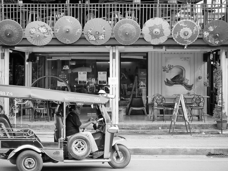 Chiang Mai tuk tuk and umbrellas