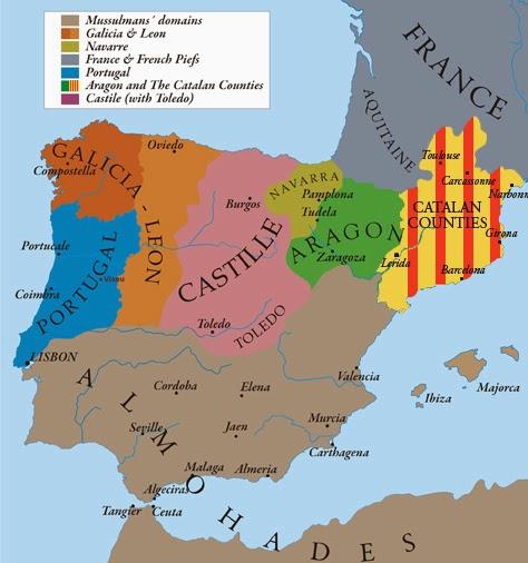 Regnes hispànics, 1210