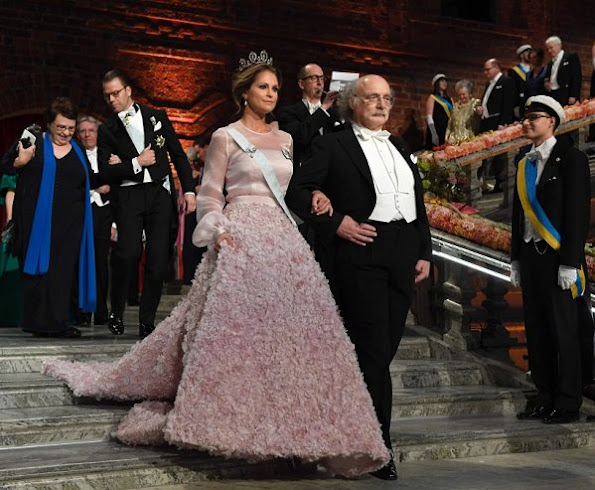 Princess Madeleine wore a specially designed pink rose patterned dress by Swedish designer Fadi el Khoury, Imperial Couture House