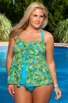 8eaf6aea77 This two piece halter plus size swimsuit has a retro daisy print swim top  and brief