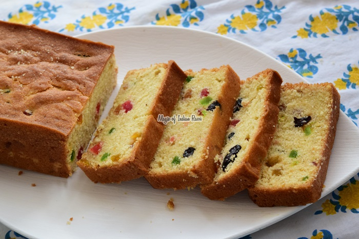एग्ग्लेस टूटीं फ़्रूटी केक | बिना अण्डे का टूटीं फ़्रूटी केक | Eggless Tutti Frutti CakeRecipe in Hindi