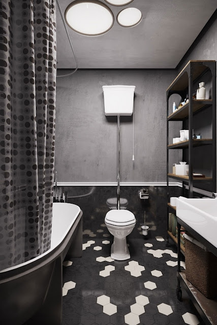 small Black and white bath room design