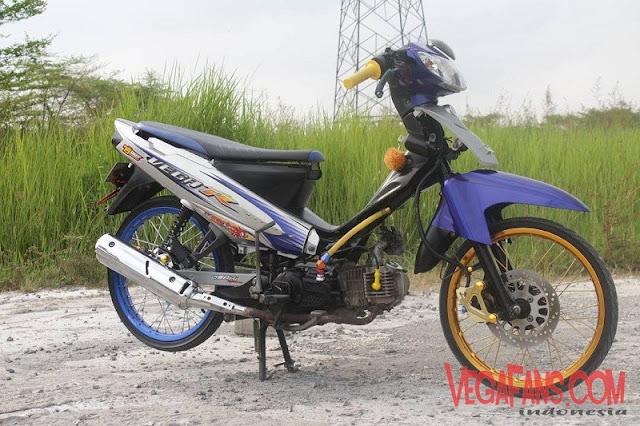 Modifikasi Motor Vega R New Biru Abu Abu Modif Standart