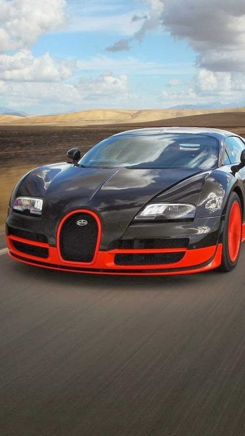 iPhone 5 HQ Wallpapers: Amazing Bugatti Veyron On The Road ...