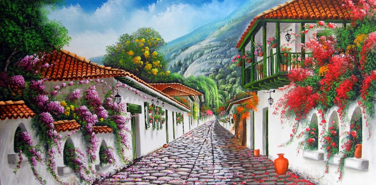 Cuadros modernos pinturas y dibujos cuadros al leo de pueblos viejos - Jardines puente cultural ...