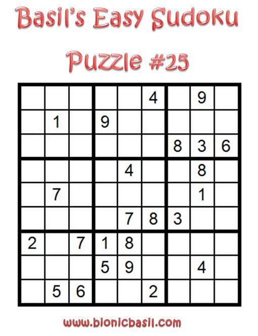 Basil's Easy Sudoku Puzzle #25 Brain Training with Cats @BionicBasil®
