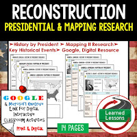 Google, Reconstruction,  American History Research Graphic Organizers, American History Map Activities, American History Digital Interactive Notebook, American History Presidential Research, American History Summer School