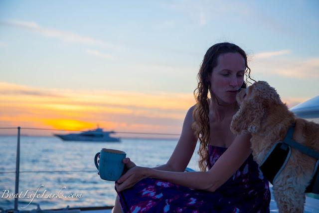 tea and kisses at sunset from our Lagoon 380 sail catamaran