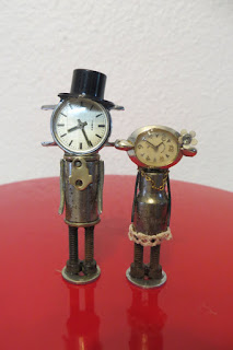 recycled clocks wedding cake topper
