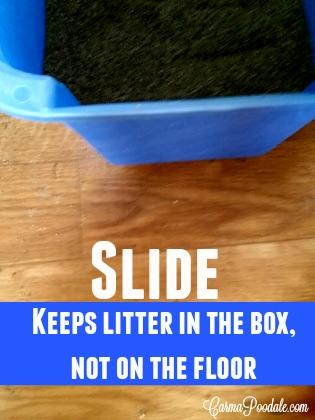 SLIDE Cat litter in box, not on floor.