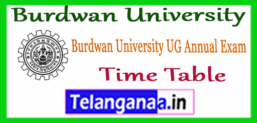 Burdwan University BA B.Sc B.Com BBA BCA Part I II III Exam Time Table 2018