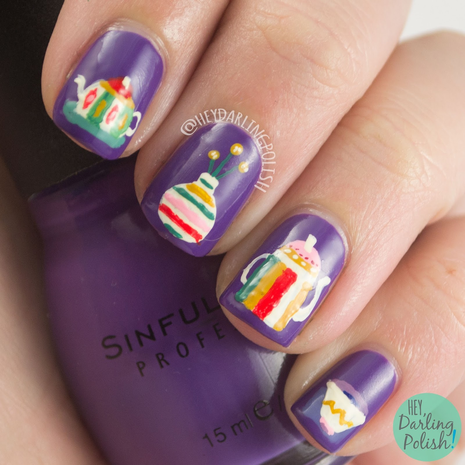 nails, nail art, nail polish, tea party, tea, purple, the nail challenge collaborative, hey darling polish, free hand, acrylic paint, pattern