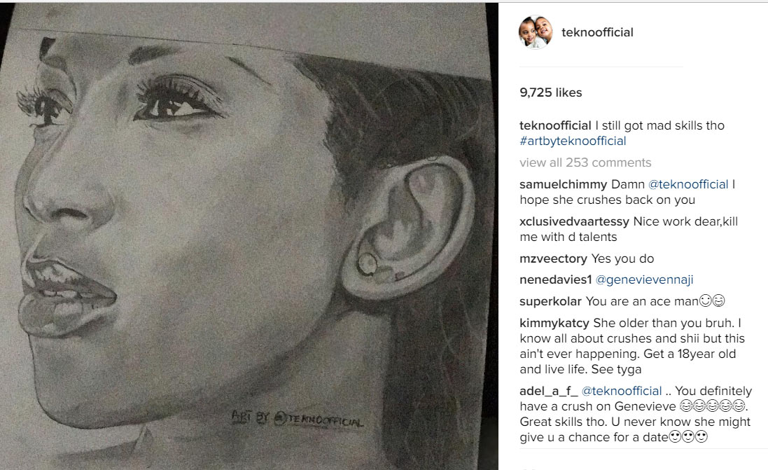 I still got mad skills - Tekno makes art drawing of Genevieve Nnaji