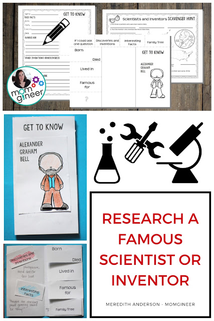 Famous scientists and inventors biographical research project! Kids use an easy-to-follow format to learn about a scientist or inventor and then share their findings with classmates. | Meredith Anderson - Momgineer