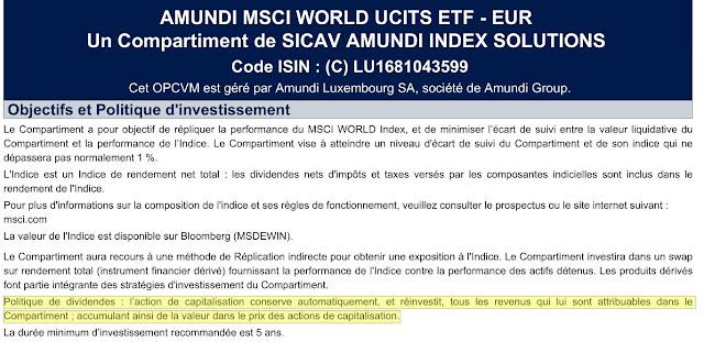 Extrait de la documentation DICI du tracker Amundi MSCI World LU1681043599