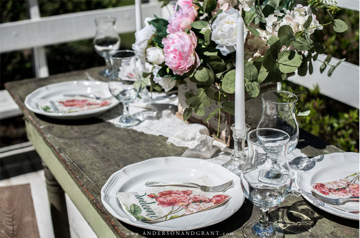 Peony inspired tablescape with white plates