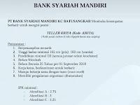 Bank Syariah Mandiri - KC Batusangkar Lowongan Teller sd 28 Agustus 2018