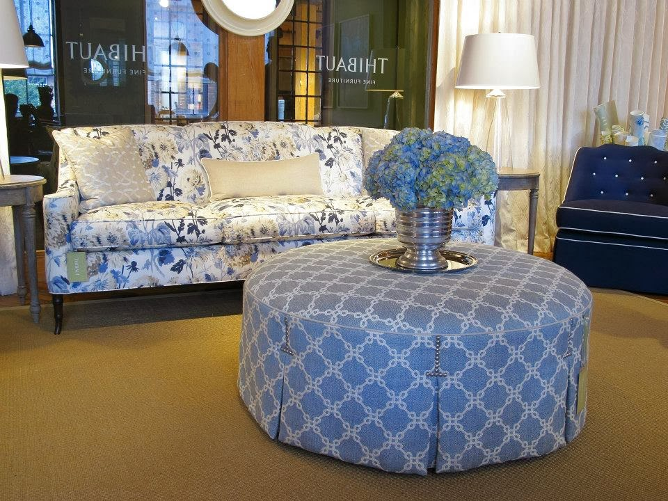 The Brighton Sofa In Longwood In Blue And White, Accented By The Wyndham  Ottoman In Bowen In Sky Blue, Brentwood Chair With Skirt In Dyed Sack In  Denim