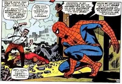 Amazing Spider-Man #64, john romita, j jonah jameson threatens spider-man after robbie robertson is crushed by falling debris