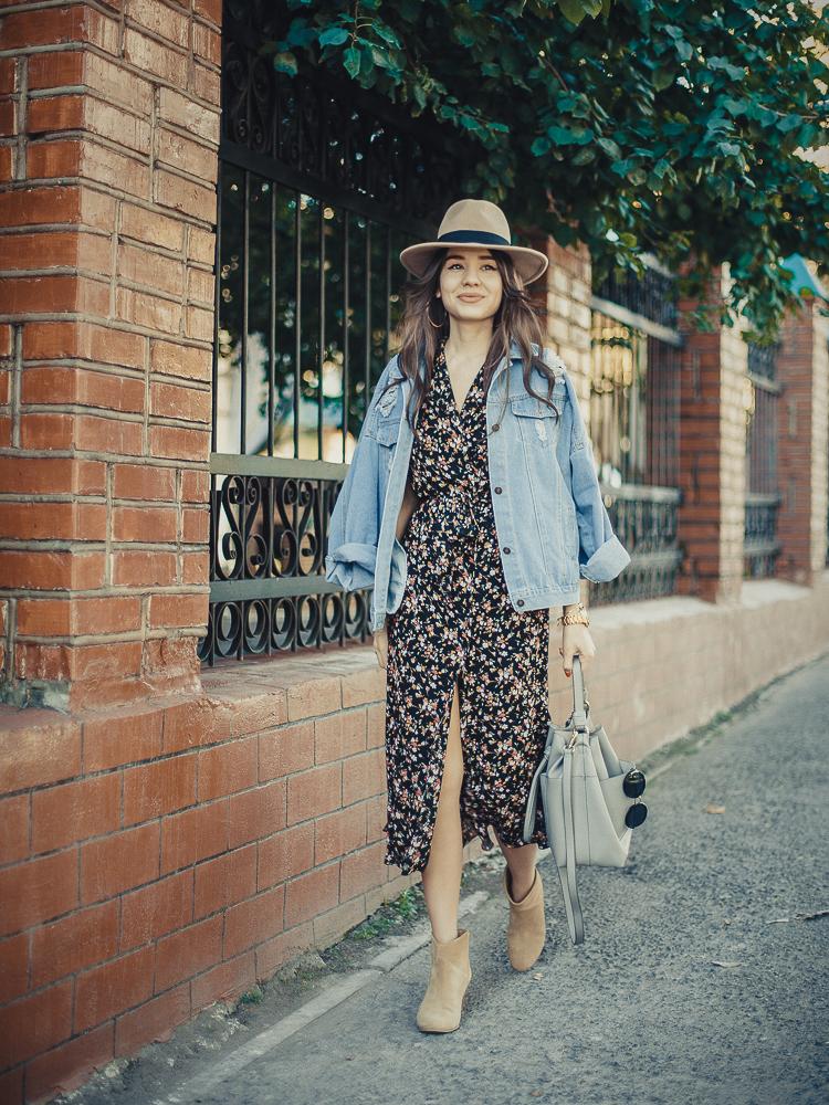 fashion-blogger-diyorasnotes-lookoftheday-vintage-dress-deim-jacket-romwe-uncle-boots-zara-bag-beige-hat
