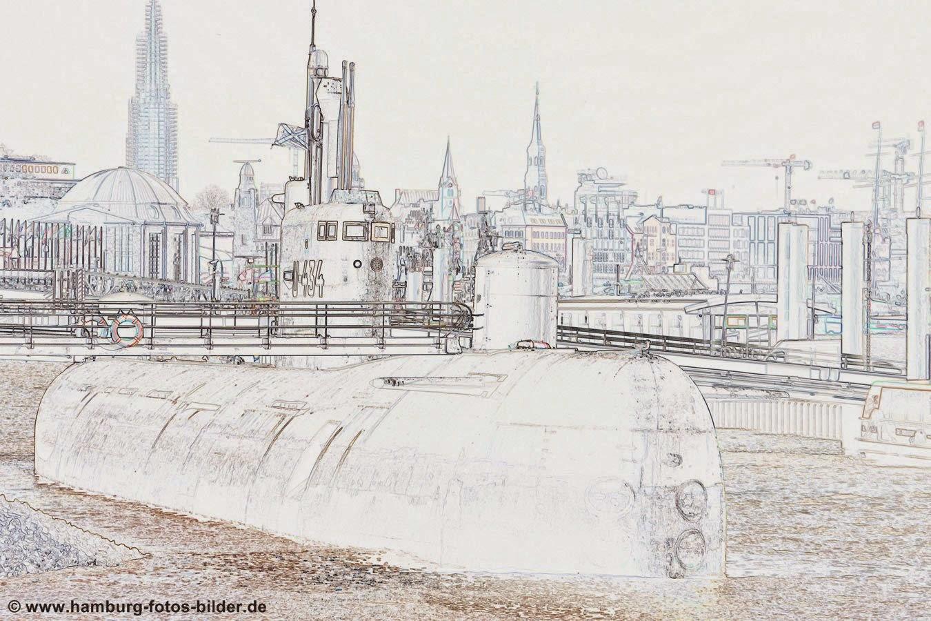 Hamburg U-Boot Silhouette U-434 schwarz weiss