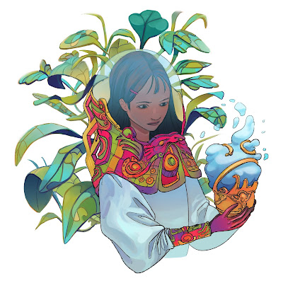 Hand-drawn illustration of a lady in a flowing spacesuit with plants behind her, holding a strange cloud-handling device