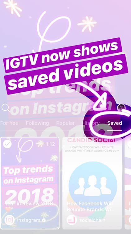 You can tap the three-dots on an IGTV post to 'save' a video